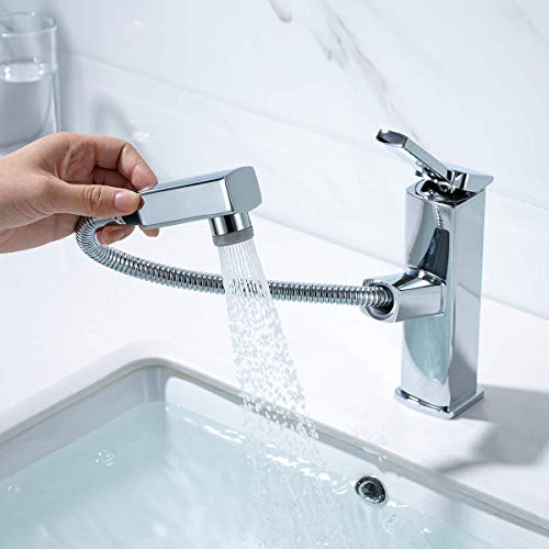 KAIYING Pull Down Bathroom Sink Faucet, Modern Lavatory Vessel Sink Faucet, Utility Single Hole Kitchen Sink Faucet with Pull Out Sprayer, Commercial Basin Mixer Tap, Brass (Regular, Chrome)
