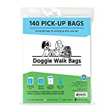 Doggie Walk Bags Dog Waste Bags with Easy Tie Handles, Extra Thick and Strong Poop Bags for Dogs, Easy Dispensing and Leak Proof, 140 Doggy Bags, 7 x 5 x 17 Inches with Gusseted Sides, Blue (96095)
