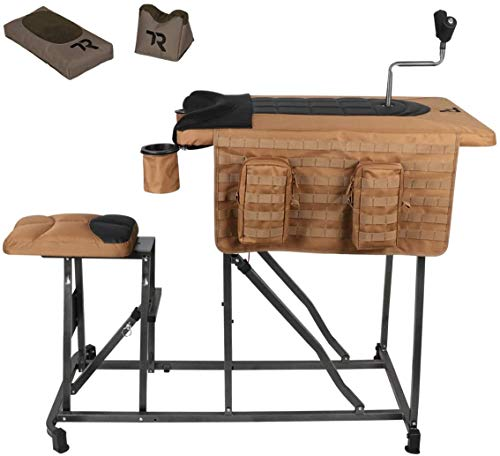 TIMBER RIDGE Magnum Precision Portable Shooting Bench Seat with Table Gun Rest, Shot Bag and Front Rest Included, Steel and Brown, Extra Large