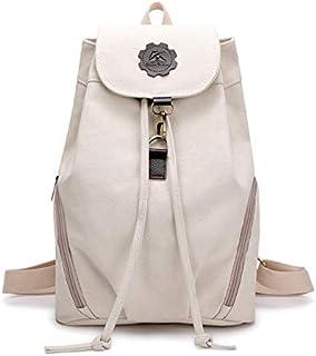 YXHM AU Backpack Female Bag Bucket Backpack Retro Canvas Leisure College Wind Female Student Bag (Color : White)