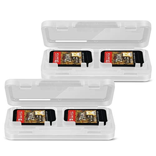 TNP Nintendo Switch Game Card Case Holder (2 Pack) - Portable Nintendo Switch Game Card Storage Holds Up to 4 Switch Game Cards/Micro SD Card Protection Accessories Kit (Clear Transparent)