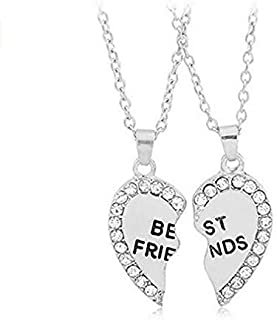 Best Friends Gift Necklaces Set of 2 Forever Love Heart Diamond Pendent Friendship Necklaces Set