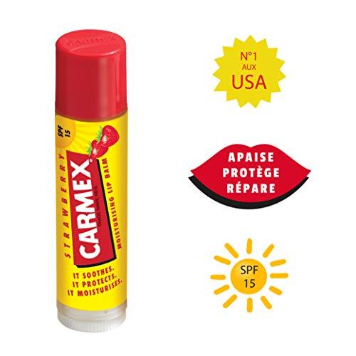 Carmex - Bálsamo hidratante para labios sabor a fresa, SPF 15, 4,25 g