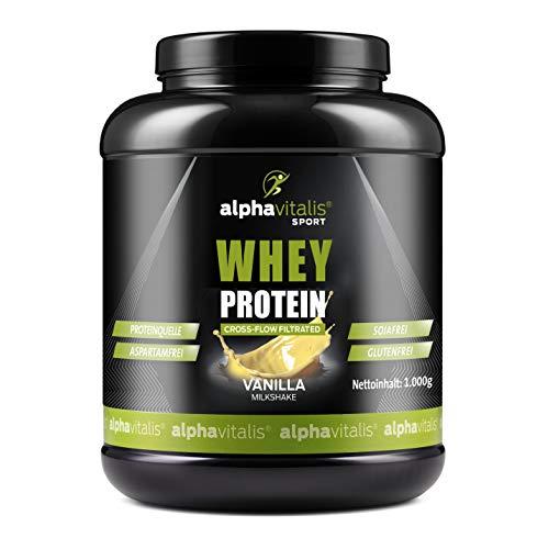 Whey Protein Pulver - Eiweißpulver für Proteinshakes, Kraftsport und Fitness - WPC Whey Konzentrat mikrofiltriert Vanille 1000g