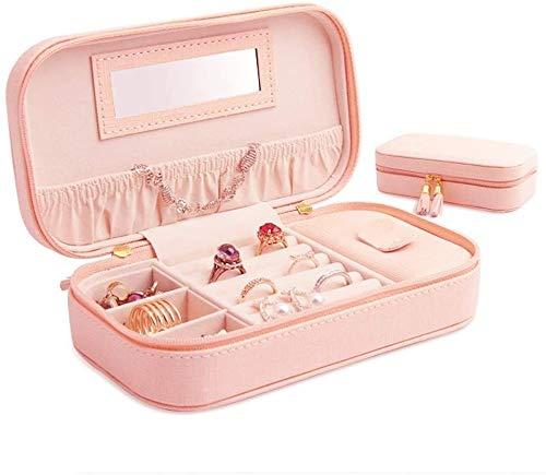 LLKK Joyero Rosa,Anillo de Viaje portátil y Compacto,Pendientes,Collar,Caja de Almacenamiento de Joyas