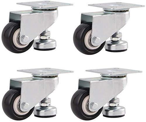 DGHJK Rollen 4; Hochleistungsrollen mit Stützfüßen 1,5 Zoll 2 Zoll 240 kg Industrietransportrollen Universal Drehmöbel Füße Ersatzräder Höhenverstellbar, 2 Zoll