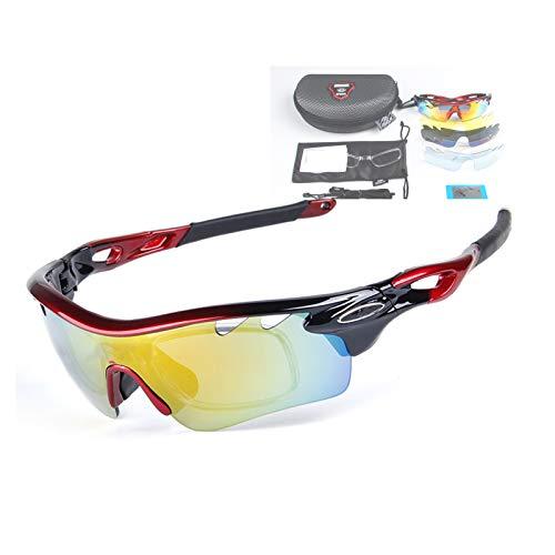 Gafas De Sol Polarizadas con 5 Lentes Intercambiables, Montura Ultraligera con Almohadillas Nasales Suaves, Adecuadas para Hombres Y Mujeres Que Corren, Conducen, Juegan Al Golf,Rojo