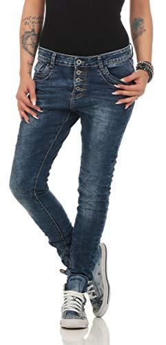 Lexxury 10118 Knackige Damen Jeans Röhrenjeans Hose Boyfriend Style Damenjeans Streetstyle (XS/34, blau)