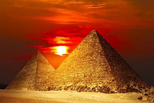 HHYSPA DIY Malen Nach Zahlen Canvas Kit Für Erwachsene Fortgeschrittene Kinder Senioren Junior - Pyramiden Ägypten Dekoration Geschenk 40X50CM