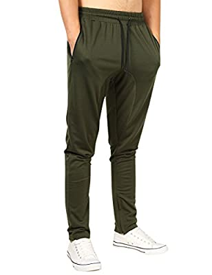 Yong Horse Men's Track Pants with Zipper Pockets Open Bottom Elastic Slim Fit Gym Joggers Sweatpants