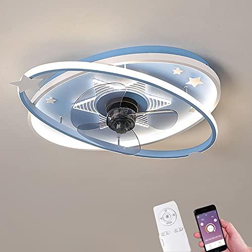 Ventilador de Techo Infantil LED Lámpara de Techo Regulable con Mando y App Moderna Ventilador Techo de Iluminación de Silencioso Luz Interior para Dormitorio Salón 3200K ~ 6500K Ø60CM (Blue)