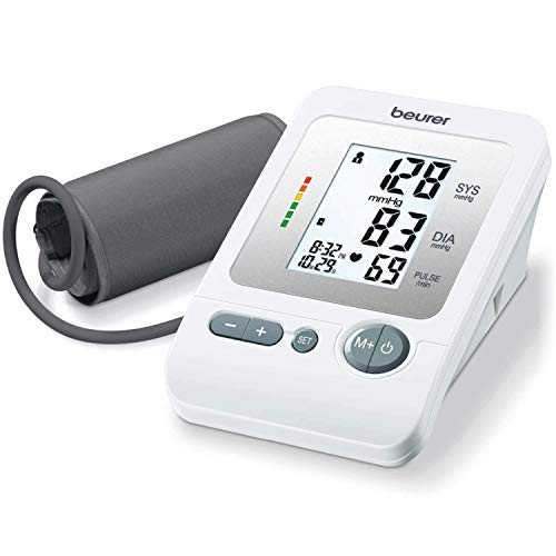 """Beurer BM26 Upper Arm Blood Pressure Monitor, Large Cuff   4 Users, Automatic & Digital, Large Display, Irreg. Heartbeat Detector, Cuff Circ. 8.7""""-16.5""""   Home Use BP Machine Kit   Highly accurate"""