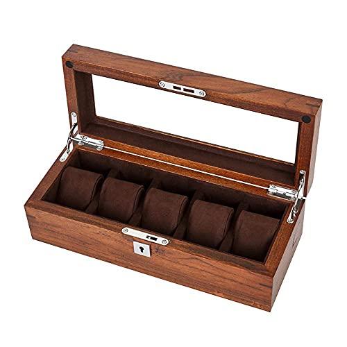 WOZUIMEI Caja de Almacenamiento de Reloj de Joyería Caja de Reloj Organizador Caja de Reloj de Pulsera de 5 Ranuras Caja de Exhibición de Reloj de Madera con Cubierta de Vidrio Organizador de RelojMa