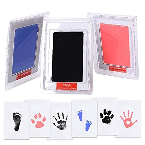 Paquete de 3 almohadillas de tinta para bebé recién nacido, huellas de huellas de perro o mascota, kit de tinta, 100% seguro, sin ensuciar, recuerdo familiar (negro, rosa,...