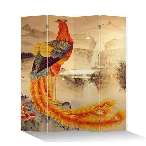 Fine Asianliving Paravent Raumteiler Trennwand Spanische Wand Raumtrenner Sichtschutz Japanisch Orientalisch Chinesisch L160xH180cm Bedruckte Canvas Leinwand Doppelseitig Asiatisch -203-116