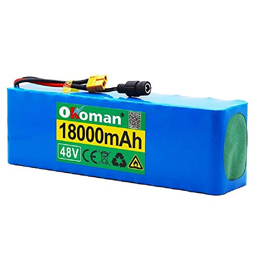 48v Lithium-Ion Battery 13s3p 18000mah 21700 Lithium Battery Pack 1000w High Power Battery Ebike Electric Bicycle Bicycle with BMS +54.6v Charger