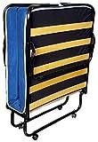 bazar dell'arredamento Brandina Pieghevole con Materasso Incluso Singolo, Spessore 7 cm, Apertura Facile con Ruote, Made in Italy, Misure 80 x 190 x 30 cm, Materasso in Poliuretano