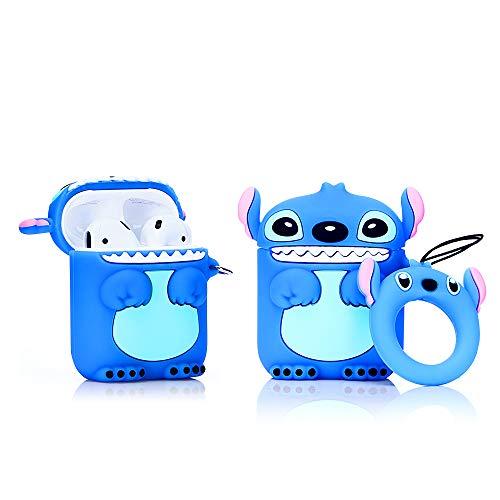 LEWOTE Airpods Carcasa de Silicona Compatible con Airpods de Apple 1 y 2 [Diseño de Dibujos Animados][Niñas o Parejas] (Stitch Blue)