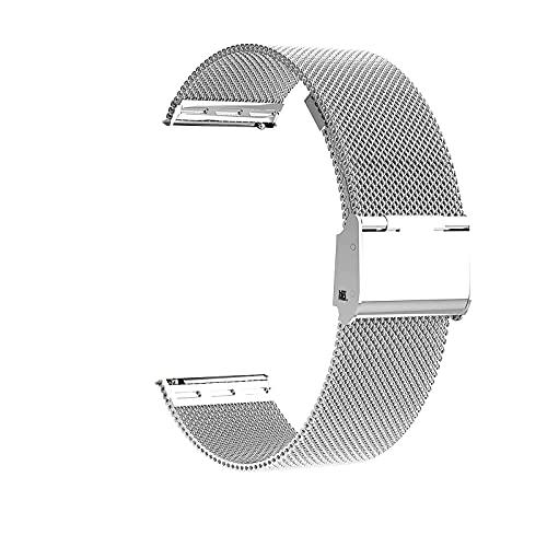 Microwear Cinturino per Orologio, Cinturino in Maglia di Acciaio Inossidabile di Ricambio da 22 mm,Cinturino in Metallo per Cinturino a Sgancio Rapido,per Uomo Donna (22,Argento)