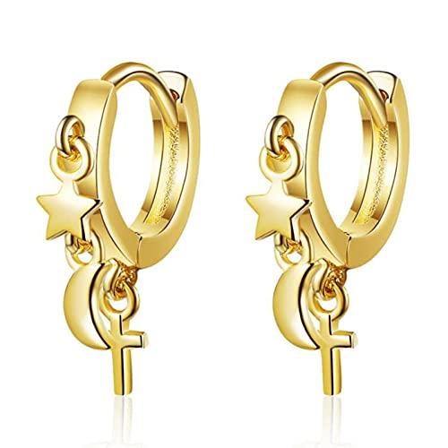 CXWK Pendientes de Plata de Ley 925 de Moda para Mujer, Estrella Creativa, Luna, Vintage, aro Cruzado, joyería para el oído, Regalo de cumpleaños para niña