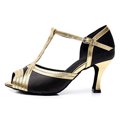 HROYL Zapatos de Baile Mujer Latino Baile Tango Baile Boda Tacón Alto para Zapatos de Fiesta Mujer,QJW6120,Negro-6,EU36.5