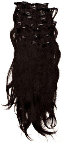 Love Hair Extensions - LHE/K1/QFC/120G/10PCS/18/1B - Thermofibre™ Lisses et Soyeux - 10 Pièces Clippants en Extensions - Couleur 1B - Noir Nature - 46 cm