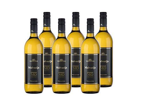 Vinakoper Weine Weinpaket Malvasia Slowenischer Wein - Malvazija Weisswein aus Istrien 6x1 Liter Weißwein trocken - (12,5% vol) wine from Istra - Weiswein EINWEG