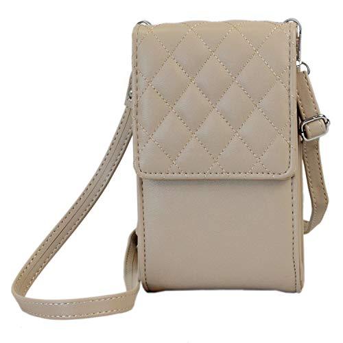 irisaa kleine Damen Umhängetasche Schultertasche - Crossbody Handtasche Geldbörse Handy Mini-Tasche Brieftasche mit Verstellbarem Schultergurt, Elegant Karo, Damen Tasche:Khaki