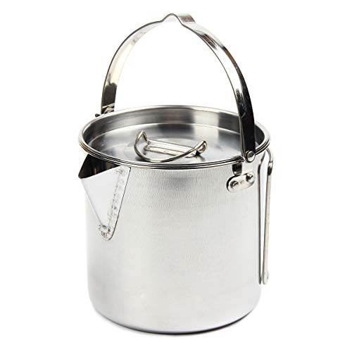 bouti1583 1.2L Stainless Steel Camping Kettle,Outdoor Cooking Kettle with Lid for Backpacking Picnic Camping Hiking