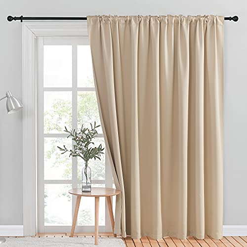 NICETOWN Room Divider Curtain, Glass Door Curtains for Window, Wide Thermal Curtain Panels, Sliding Door Drapes, Extra Wide Curtains (Biscotti Beige, 100 inches Wide x 95 inches Long, 1 PC)