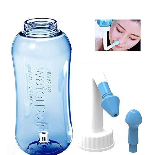 WHYTT 300 ml/500ml Yoga Sistema de Enjuague Nasal Nariz Wash Neti Pot para rinitis alérgica Talla con solución Salina fisiológica para rinitis alérgica en Adultos y niños irrigación Nasal