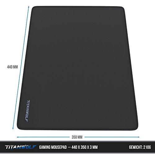 CSL - XL Gaming Mauspad Titanwolf - 440 x 350mm - XL Mousepad - Tischunterlage Large Size - verbessert Präzision und Geschwindigkeit - Gummiunterseite für stabilen Halt auf glatten Oberflächen