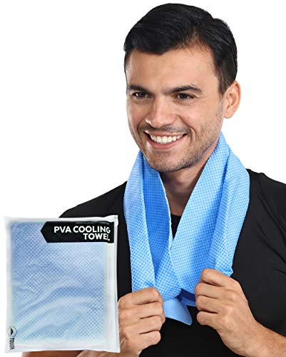PVA Cooling Towel - Keep Cool Neck Cooler Wrap - Sweat Rag/Chamois Outdoor Sports Ice Towel - Instant Cold Snap Cloth for Summer Heat, Hot Weather Hiking, Golf, Running, Gym Workout & Yoga - UPF 50