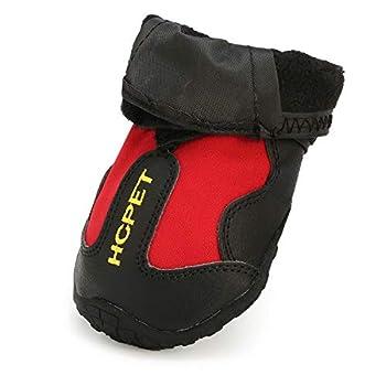 AILOVA Chaussons Pattes pour Chien Antidérapant, Bottes Chaussures De Protection Coussinets Chien en Cuir PU Imperméable pour Sol Marche Sports en Plein Air De Chiots Chiennes (M,Rouge)