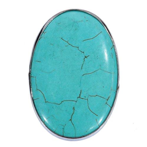 YAZILIND Vintage Tibetan Silver Rimous Oval Turquoise Unique Design Striking Big Ring Adjustable Women