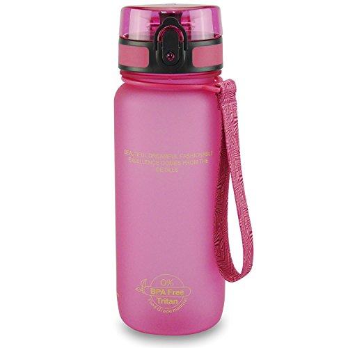 SMARDY Tritan Botella de Agua para Beber Pink - 1000ml - de plástico sin BPA - Tapa de un Clic - fácil de Abrir - ecológica - Reutilizable