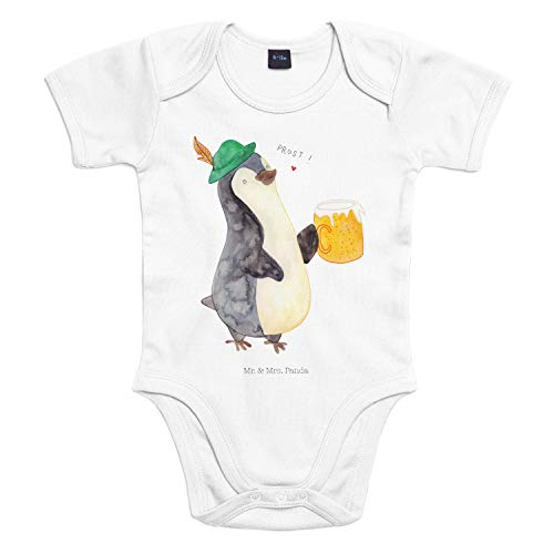 Mr. & Mrs. Panda Strampler, Babysuit, 3-6 Monate Baby Body Pinguin Bier - Farbe Transparent