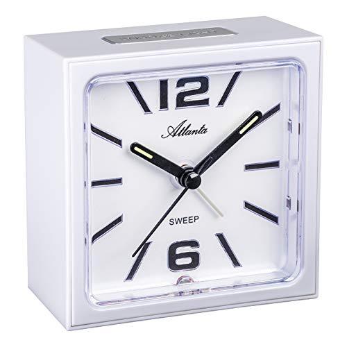 Atlanta Despertador de cuarzo sin tic-tac, segundero lento, luz, alarma intermitente, color blanco - 2130/0