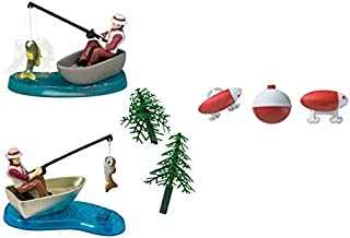Fisherman with Action Fish Cake Topper PLUS 24 Lure and Bobber Rings - National Cake Supply