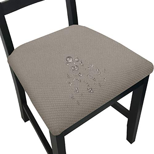 Waterproof Chair Seat Covers for Dining Room Chair Seat Slipcovers Kitchen Dining Chair Covers (Taupe, 4)