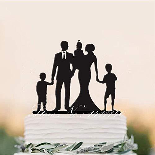 Soode Gepersonaliseerde Bruiloft Cake Topper Familie Silhouette, Verjaardag Partij Cake Decal, Aangepaste naam met Drie Kinderen Cake Topper