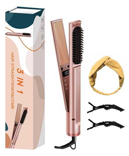 Genpar 3 in 1 Haarstyling-Tool, 18K vergoldeter 3D-Keramik-Haarglätter, Haarlockenwickler, Heizbürstenkamm, Universal-Spannungs-Lockenstab-LCD-Display, 12 Stufen einstellbar 120 ℃ -230 ℃