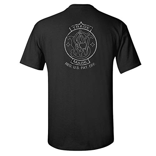 Smith and Wesson Men's T-Shirt Short Sleeve, Trade Mark Emblem Logo, on Back and Right Chest, Size X-Large, Black