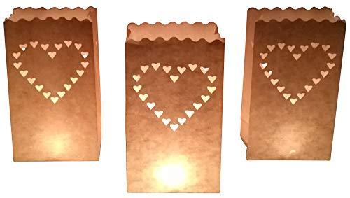 10 Stück Papier Lichttüten Lichtertüten Herz für Teelichter Kerzen Laternen weiß Kerzenhalter Deko Tischdeko Kerzentüten Hochzeit