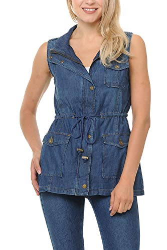 Auliné Collection Womens Chambray Denim Jean Military Anorak Drawstring Vest - Dark Blue Small