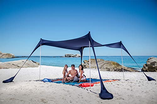 SUN NINJA Pop Up Beach Tent Sun Shelter UPF50+ with Sand Shovel, Ground Pegs and Stability Poles, Outdoor Shade for Camping Trips, Fishing, Backyard Fun or Picnics (10x10 FT 4 Pole, Navy)