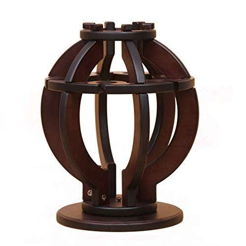 YAeele Haushaltswaren aus Holz Rotating Laterne Form einzelner Flasche Wein-Gestell (Farbe: braun)