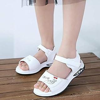 Youpin Sandales d'été à talon plat pour filles, petites filles et grands enfants, chaussures de princesse avec nœud tendan...