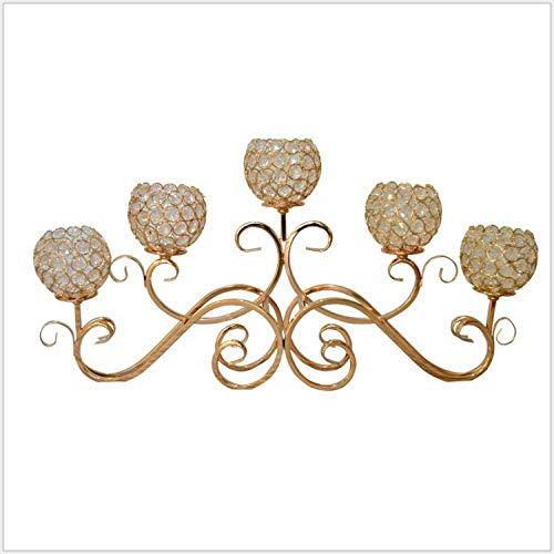 HLH Metallo Candelabbro Elegante a 5-Armato Portacandele Lunghe Oro Altezza 14.58in/37cm Candelabro Classico per La Decorazione di Matrimoni di Tavoli da Casa