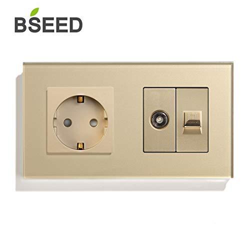 BSEED Glass Panel 16A Enchufe de la UE con conexiones de TV y PC Enchufes de CA 100-220V Oro